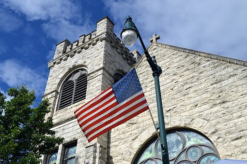 American Flag, American, Flag, Church, Usa, Patriotism
