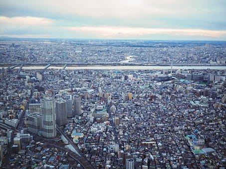 City, Building, Skyscraper, Horizon, Tokyo, Skytree