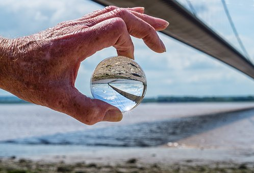 Bridge, Estuary, Hand, Crystal Ball, Sea, Architecture