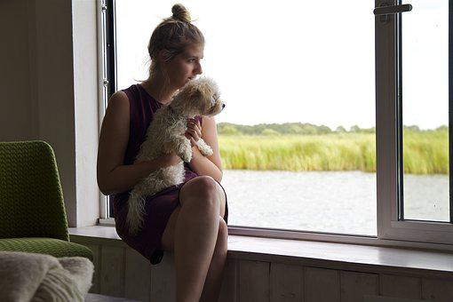 Darß, Darss, Baltic Sea, Woman, Dog, Outlook, Water