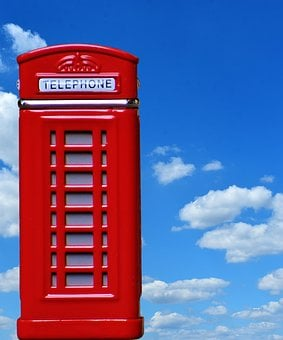 Phone Booth, England, Red, Sky, Blue