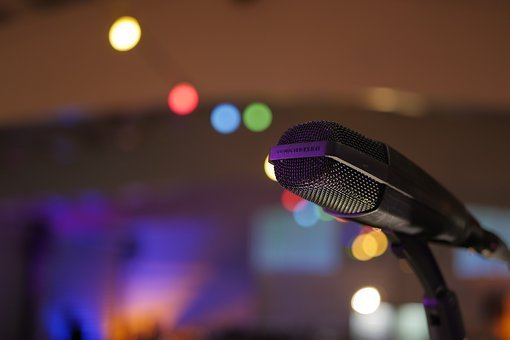 Microphone, Garland, Concert, Singing, Music, Live