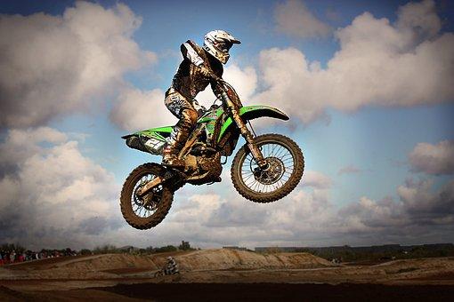 Motocross, Jump, Motorcycle, Speed, Brown, Vehicle