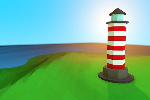 Lighthouse, Low Poly, Coast, 3d, Lighthouses, Sea