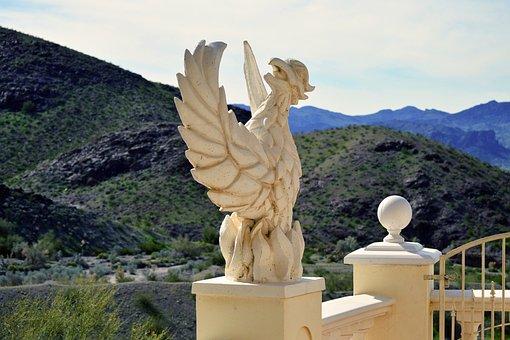 Phoenix, Statue, Mold, Figure, Sculpture, Concrete