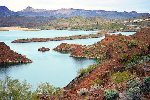 Desert, River, Red, Rock, Mountain, Hill, Beautiful