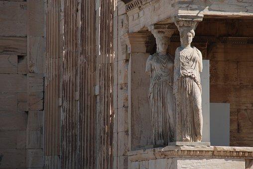 Greece, Athens, Column, Sculpture, Parthenon, Monuments