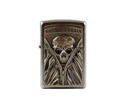 Lighter, Petrol Lighter, Skull And Crossbones, Fire