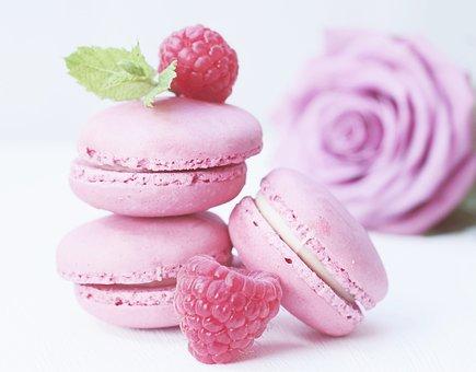 Macarons, Rose, Rose Bloom, Raspberries, Mint, Pastries