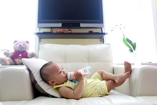 Drinking Milk, Bottle, Milk, Kid, Son, Relaxing, Relax