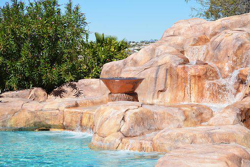 Backyard, Pool, Rock, Landscaping, Hot, Summer, Day