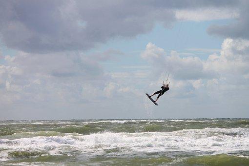 Steering Kite Sailing, Kite Sailors, Float, Take Off