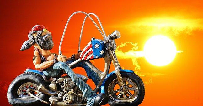 Biker, Freedom, Easy Rider, Sunset, Bike, Tattooed