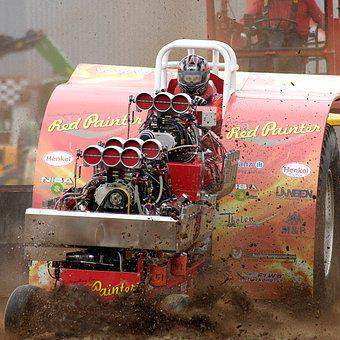 Tractor, Pulling, Machine, Force Pull, Motor, Tecker