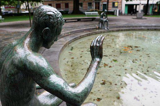 Fountain, Zurich, Man, Naked, Water, Sculpture