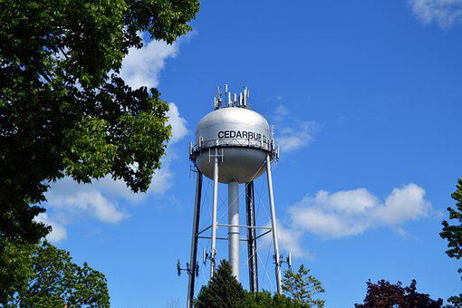Water Tower, Water, Tower, Blue, Sky, Green, Trees