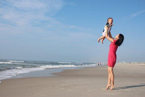 Mother, Son, Ocean, Beach, Sand, Waves, Child, Family