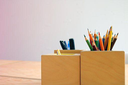 Colored Pencils, Pencil Crayons, Work Table, Table