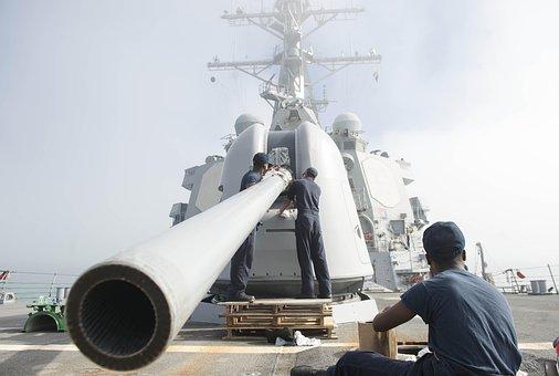 Mk-45, Main Gun, Cleaning Operation, 127mm Gun