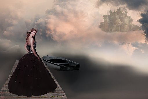 Fantasy Picture, Woman, Castle, Bridge, Boot, Clouds