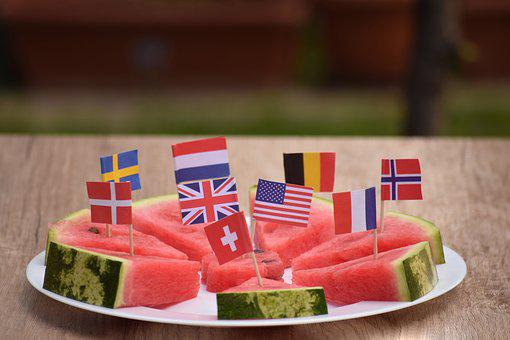 Watermelon, Plate, Served, Flags, World, Fruit, Healthy