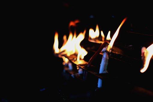 Candles, Light, Fire, Flame, Night, Dark, Burn, Black