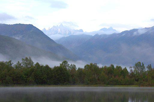 Mountains, Lake, Rocks, Fog, Forest, Early Morning