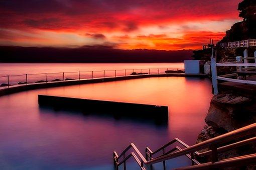 Dam, Sunset, Dusk, Lake, Reflections, Sky, Clouds