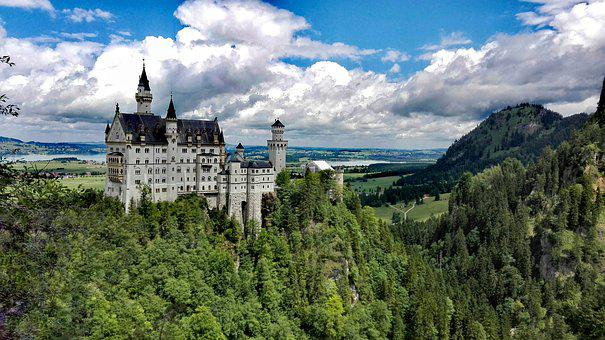 Neuschwanstein, Germany, Nature, Castle, The Sky, Lock