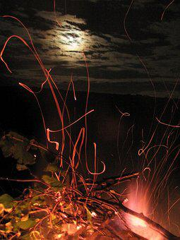 Koster, Fire, Spark, Night, Flame, Coals, Firewood