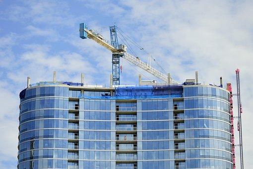 Construction, Apartment, Office, Building, Glass, Crane