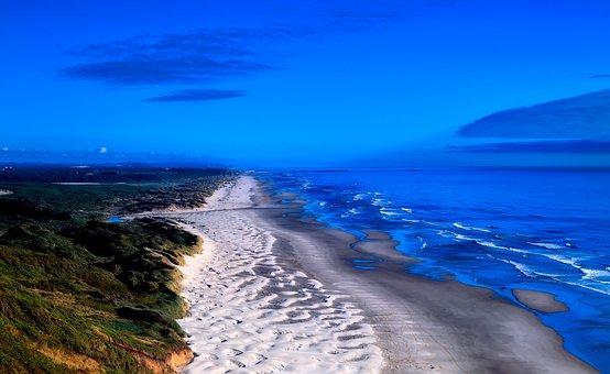 Oregon, Sand Dunes, Sunrise, Sunset, Sky, Clouds, Sea