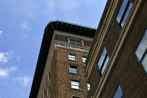 Red, Brick, Building, Exterior, Industrial, Downtown