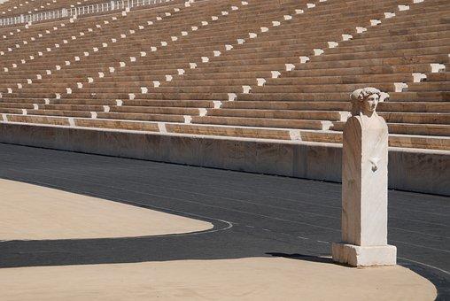 Stadium, Athens, Olympics, Greece, Sculpture, Sport