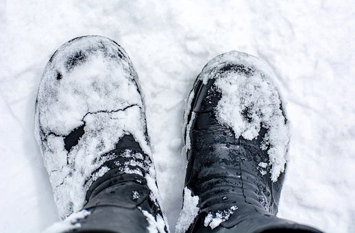 Shoes, Boots, Snow, Ice, Snowy, Winter, Wintry