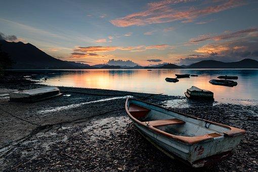 Morning, Sunrise, Sea, Mountain, Natural, Geography
