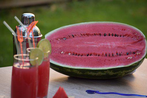 Watermelon, Plate, Served, Cocktail, Juice