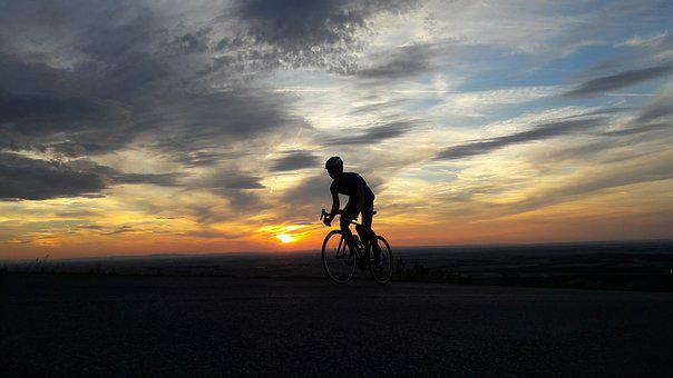Sunset, Bike, Cycling, Hill, Ride, Shadow, Wheels