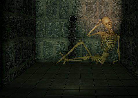 Dungeon, Skeleton, Chains, Chained, Backed Up, Caught