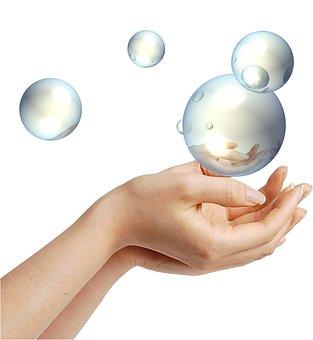 Hands, Blow, Balls, Soap Bubble, Crystal, Glass