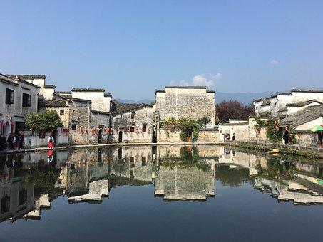 Hongcun Village, Reflection, Blue Sky