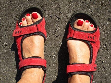 Feet, Beauty, Fashion, Sport Shoe, Sandals, Easily, Red