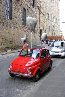 Fiat, Fiat 500, Italy, Red Car, Love, Balloons