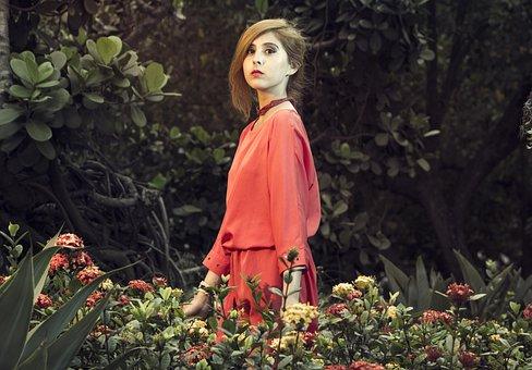 Lyzz Hana, Woman In Garden, Dress Red, Flowers