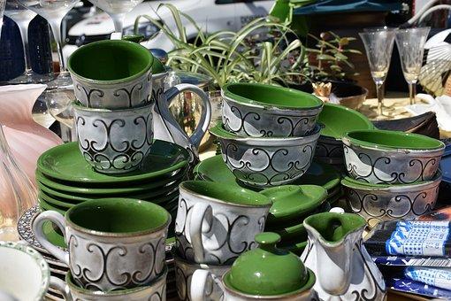 Tableware, Plate, T, Porcelain, Stack, Green, White