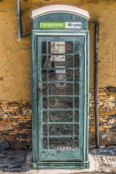 Phone Booth, Green, Street, Village, Public