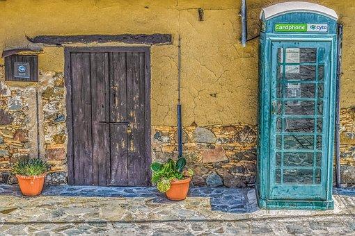 Cyprus, Fikardou, Village, House, Phone Booth