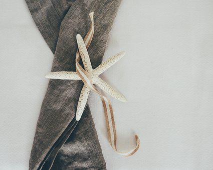 Starfish, Looking Down, From Above, Linen, Still Life