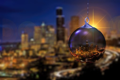 Christmas, Skyline, Seattle, Christmas Ornament