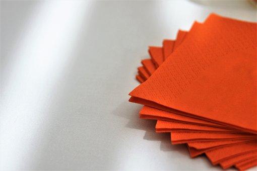 Orange, Color, Napkin, Paper, Stack, Table